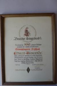 Ehrenurkunde Juli 1960