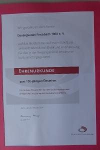 Ehrenurkunde Oktober 2010